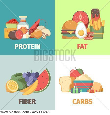 Food Nutrition. Proteins Fats Carbohydrates Fiber Health Products For Natural Diet Nutrition Group G