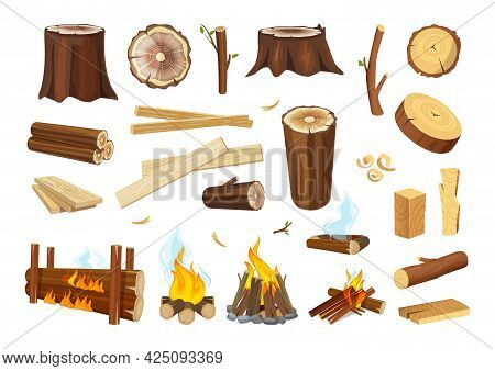 Lumber. Logs And Timbers, Wooden Boards. Tree Branches, Wood Shavings And Sawdust. Burning And Extin