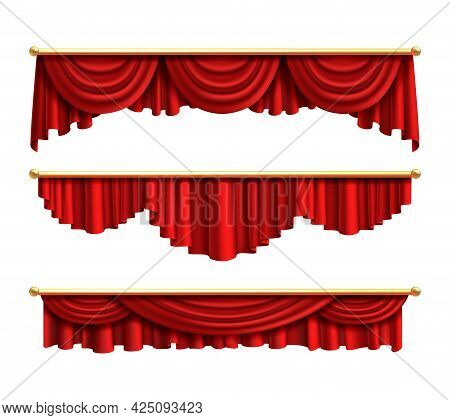 Red Curtains. Realistic Luxury Curtain Cornice Set. Interior Drapery Textile, Silk Or Velvet Scene D