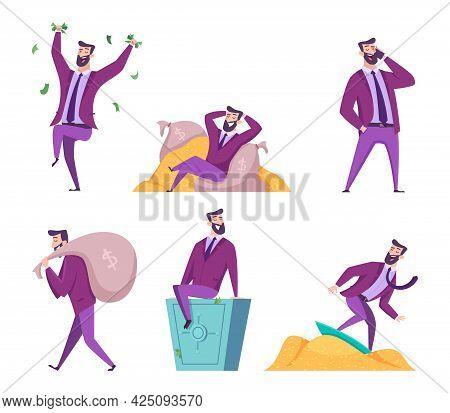 Rich Man. Millionaire Businessman With Self Treasures Money Dollars Happy Lifestyle Exact Vector Cha