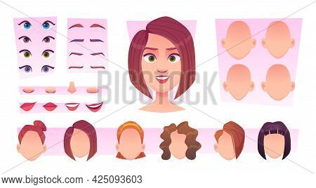 Female Face Constructor. Woman Avatar Creation Kit Face Parts Eyes Lips Head Nose Smile Emotions Exa
