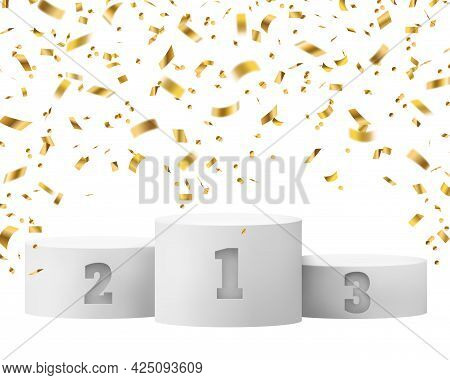 Winner Podium With Confetti Background. Celebrating Announcement Award Pedestal With Sparkle Effect