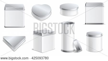 Boxes Metal. Realistic Blank Tin Jars Different Forms Square And Round, 3d White And Aluminum Caps C