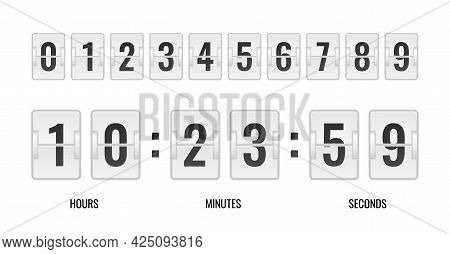 Counter Realistic. Time Table, Retro Clock Countdown, Black Flip Numbers On White Plaques, Vintage M