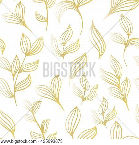 Botanical Background With Gold Leaves On A White Background. Vector Illustration, Seamless Pattern W