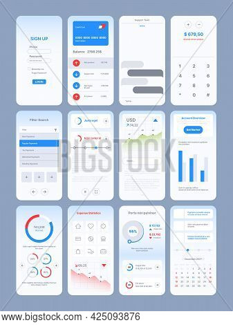 Web Pages Design. App Online Templates With User Ui Kit Various Modern Symbols Icons Navigation Fram