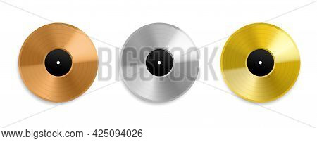Realistic Vinyl Record. Metal Golden And Platinum Top Charts Audio Discs, Music Awards Albums, Silve