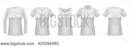 Women White T-shirts. Female Clothes Mockups Realistic Collection, Different Types Of Blouses Long A
