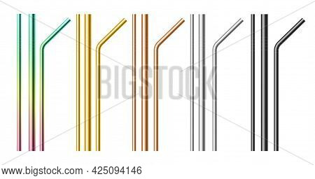 Metal Drinking Straws. Realistic Pipes. 3d Metallic Stainless Beverages Tools Set. Black Or Rainbow