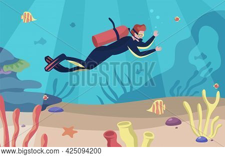 Sea Scuba Diving. Man Swims Underwater. Character Dives With Goggles And Aqualung. Undersea Swimming