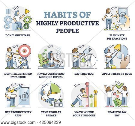 Habits Of Highly Productive People And Daily Routines Strategy In Outline Collection Set. Work Task