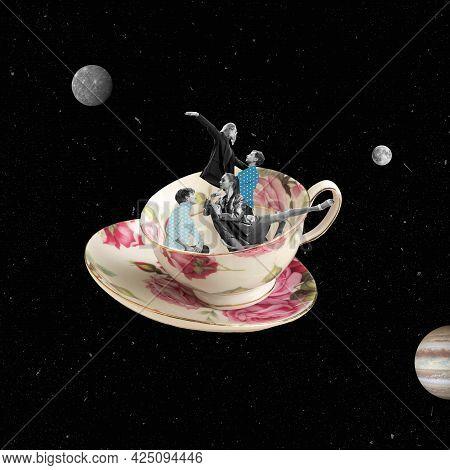 Contemporary Art Collage. Surrealism, Minimalism In Art.
