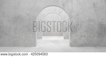 Abstract Empty, Modern Concrete Room With Multiple Archways In The Middle And Rough Floor - Industri