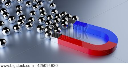 Magnet Attracting Silver Spheres On Grey Background, Business Marketing Attraction, Leader Or Teamle