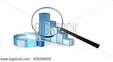 Blue Transparent Pie Chart And Bar Graph Business Diagrams With Magnifier Loupe Over White Backgroun