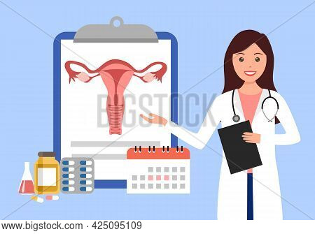 Doctor Explaining On Uterus Structure And Woman Disease Concept Vector Illustration On White Backgro