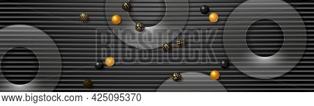 Black Technology Banner. Black Textured Background, Transparent Round Panels And Small Spheres