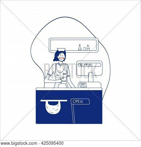 Woman Cashier In A Supermarket. Seller At The Counter, Supermarket Checkout. Blue Line Style. Modern