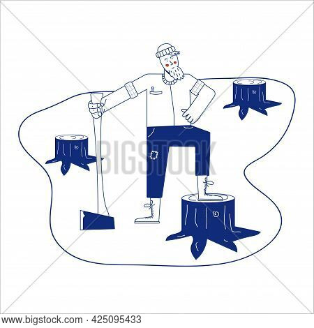Forester Man Sketch Icon Vector. Hand Drawn Blue Doodle Line Art Forester Man Sign. Isolated Symbol