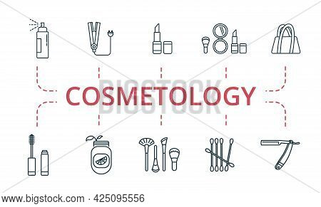 Cosmetology Icon Set. Contains Editable Icons Theme Such As Handbag, Barber Razor, Detox And More.