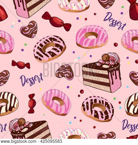 Seamless Pattern Donuts, Chocolates, Cake. Dessert Food Illustration. National Donut Day. Sweetest D