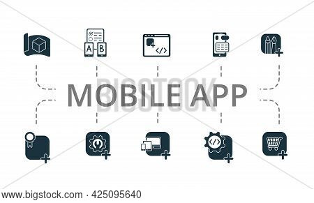 Mobile App Icon Set. Contains Editable Icons Theme Such As App Coding, App Maintenance, Cross Platfo