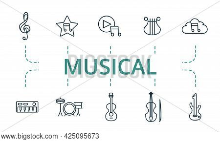 Musical Icon Set. Contains Editable Icons Theme Such As Cloud Music, Synthesizer, Guitar And More.
