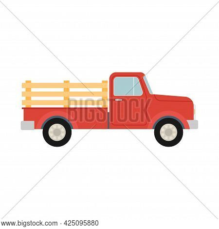 Red Pickup Truck. Retro Farm Truck Isolated On White Background. Vector Illustration.