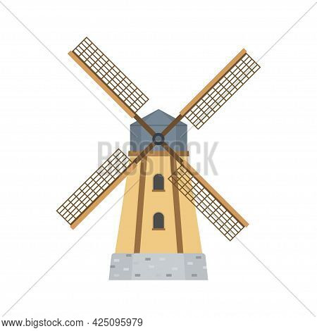 Mill For Making Flour From Grain. Agriculture. Windmill, Isolated On White Background. Vector Illust