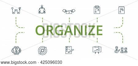 Organize Icon Set. Contains Editable Icons Theme Such As Project Management, Strategy, Presentation