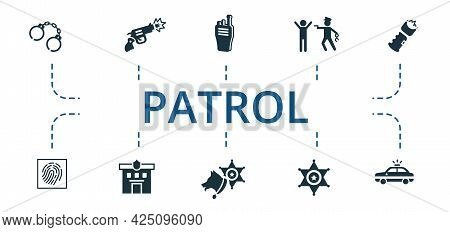 Patrol Icon Set. Contains Editable Icons Theme Such As Fingerprints, Police Station, Police Dog And