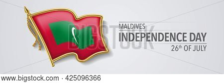 Maldives Happy Independence Day Greeting Card, Banner With Template Text Vector Illustration