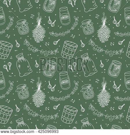 Vintage Home Pantry, Kitchen, Vegan Food Supplies Seamless Pattern. Preserves, Glass Jar, Canned Jam