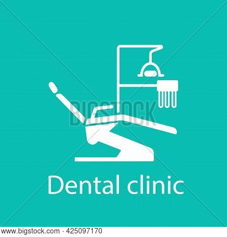 Dental Chair. Banner Of A Dental Clinic. Dental Office Equipment. Vector White Icon On A Green Backg
