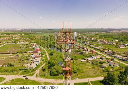 5g Smart Mobile Telephone Radio Network Antenna Base Station On The Telecommunication Mast Radiating