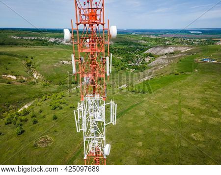 Technology On The Top Of The Telecommunication Gsm 5g And 4g Tower. Cellular Phone Antennas Countrys