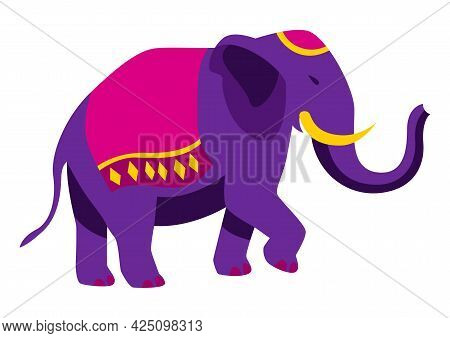 Illustration Of Diwali Elephant. Deepavali Or Dipavali Festival Of Lights.