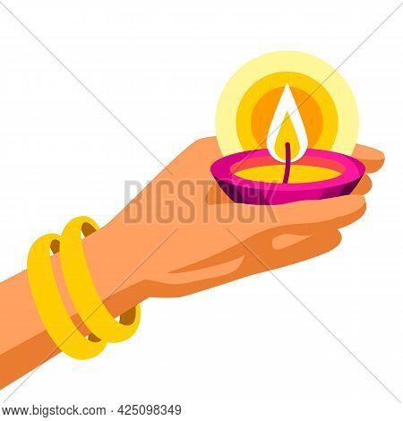 Illustration Of Diwali Hand Holds Oil Lamp. Deepavali Or Dipavali Festival Of Lights.
