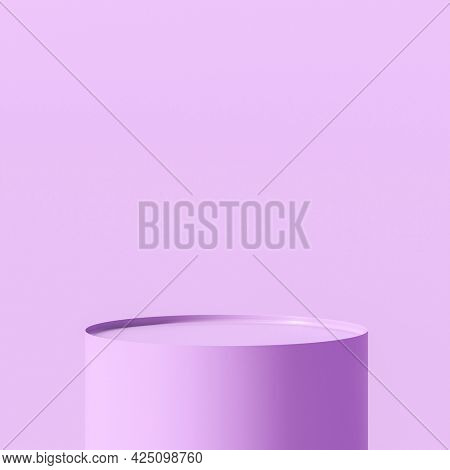lilac cylindrical podium. 3d render