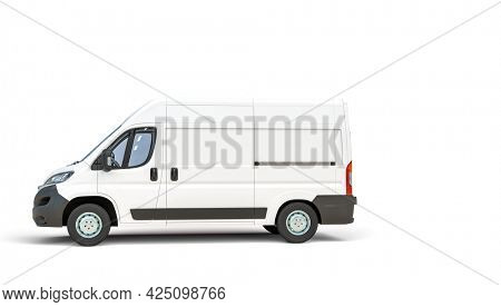 white cargo van on white background. 3d render.