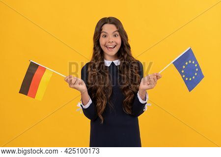 Touristic Visa In Schengen Country. Kid Girl Travel And Studying Abroad. Germany Vacation.