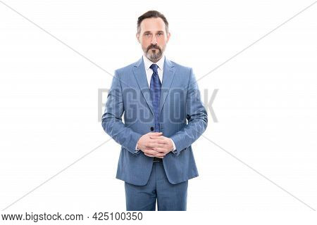 Serious Man In Businesslike Suit. Entrepreneur Isolated On White. Formal Fashion. Professional Ceo