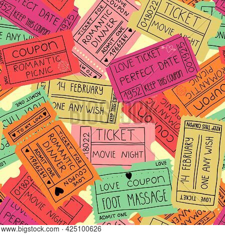 Love Coupons, Couple Pastime Seamless Pattern. Tickets For A Romantic Dinner, Picnic, Date, Foot Mas