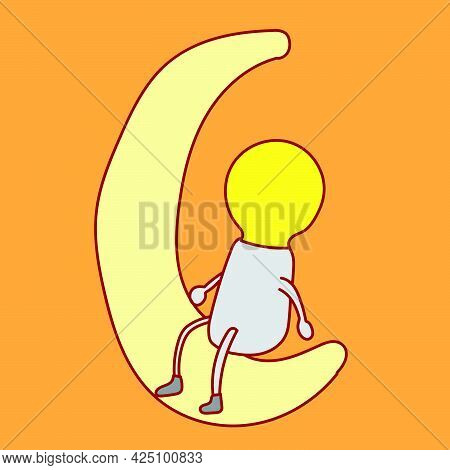 Cartoon Mascots Of Glowing Light Bulb Characters Sitting Contemplating On The Crescent Moon