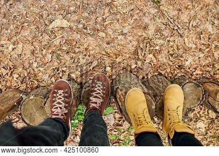 Modern Young Couple Hiking Boots On Wooden Stump On Fallen Autumn Leaves In The Forest