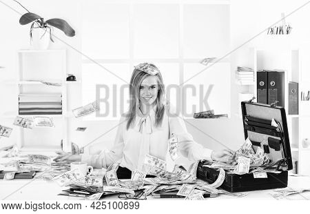 Financial Expert. Finances Is My Passion. Girl With Briefcase Full Of Cash. Financial Achievement. B