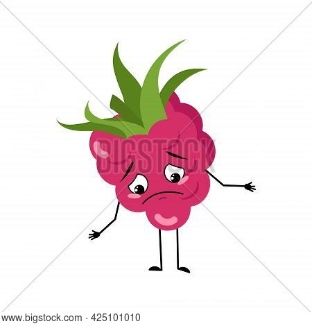 Cute Raspberry Character With Sad Emotions, Downcast Eyes, Depressing Face, Arms And Legs. The Melan