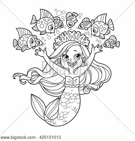 Cute Little Mermaid Girl In Coral Tiara Communicates With Fish Outlined For Coloring Page Isolated O