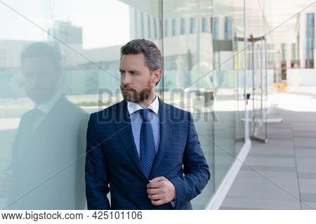 Mature Bearded Man Businessperson In Businesslike Formal Suit Outside The Office, Formalwear