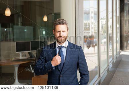 Successful Man In Businesslike Suit. Entrepreneur. Male Formal Fashion.